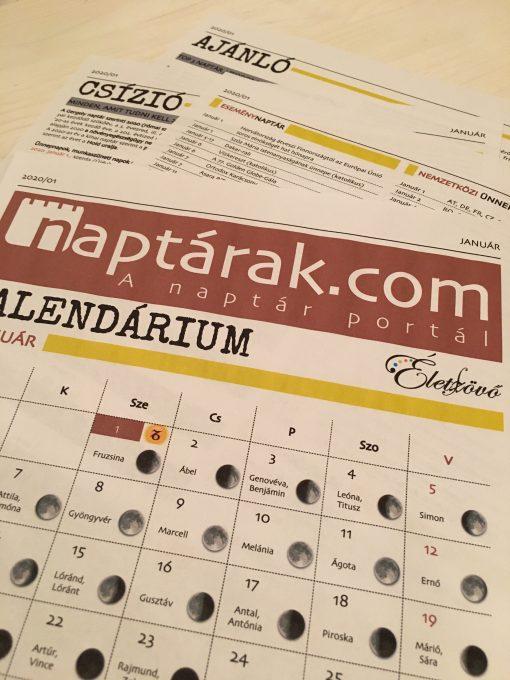 Naptárak.com / Életszövő Kalendárium – 2020/01 (január)